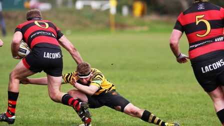 Ely Tigers v Wynmondham. Lory Martin tackles low to try and stop the visitors attacking. Picture: ST