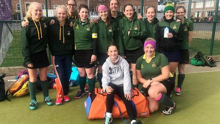 Ely City Ladies 1s drew 2-2 away against Huntingdon 1s. Front row, left to right: Lynette Morrison,