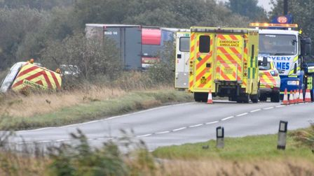 A van has left the road on the A141 this morning (October 30). Picture: IAN CARTER