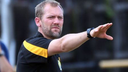 March Town manager Brett Whaley during their pre-season friendly against Deeping Rangers. Picture: I