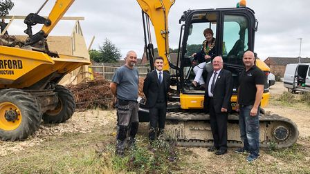 Lewis Combe, sales manager, Simon Rutterford, builder, and the Mayor and Deputy Mayor of March, duri