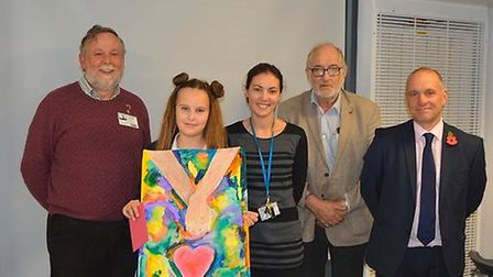 Peace poster competition. Michael Stares Littleport Lions Club President, Alice Gardiner, Clare Way