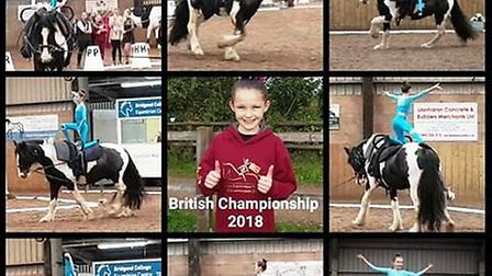 Coates equestrian vaulter Ella Marie, 11, comes second in the pre-novice category of the British equ