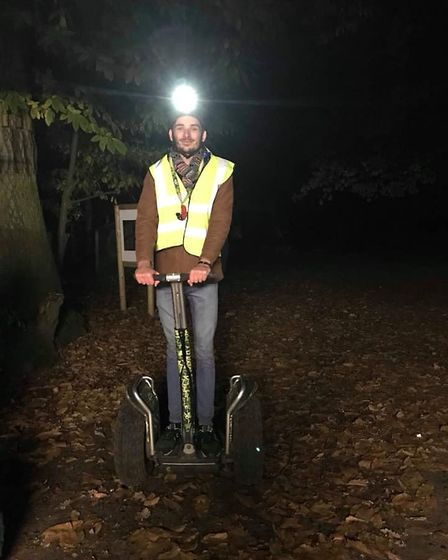 Reporter Ben Jolley onboard his segway in the middle of Thetford Forest.
