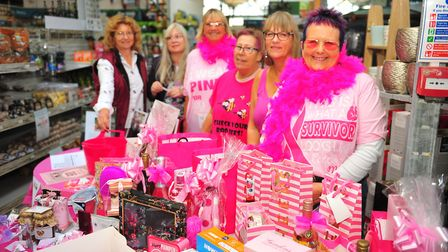 Debbie Hitchings of Soham (far right) raising money for research into breast cancer at the Twenty Pe