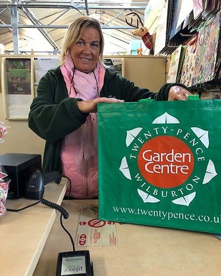 'The day the garden centre turned pink'. Charity fund raising at Twenty Pence Garden Centre, Wilburt