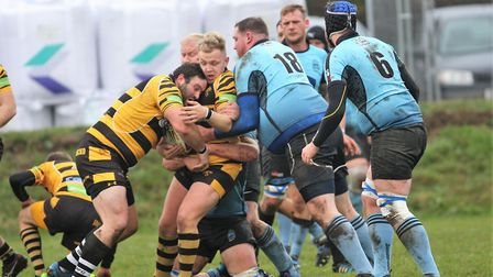 Ely Tigers Nathan Brooks in action against Woodbridge
