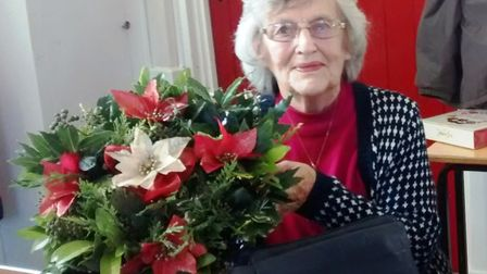 Betty Staines at the wreath making workshop in Witchford