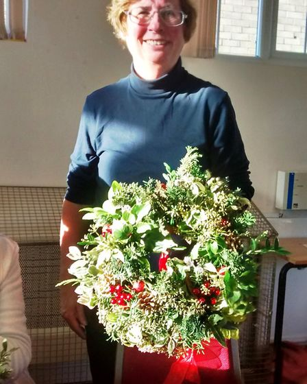 Virginia Divall at the wreath making workshop in Witchford