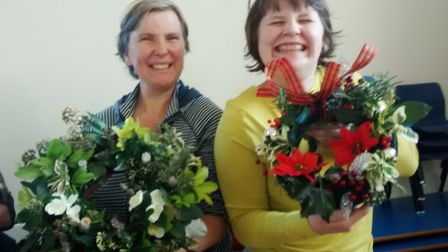 Alysoun and Gabriel Hodges at the wreath making workshop in Witchford