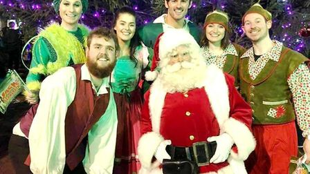 The KD Theatre cast of Jack and the Beanstalk at the Ely Christmas lights switch-on. Picture: DANIEL