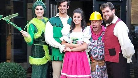 The KD Theatre cast of Jack and the Beanstalk outside Poets Houe in Ely. Picture: DANIEL BELL.