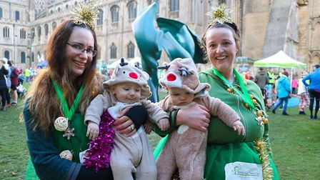 Philippa Hazel and Caroline Simons with their little six-month old reindeers. Picture: ARTHUR RANK H