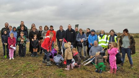 More than 50 people armed with spades turned out to plant saplings at Chatteris' new Little Acre Fen