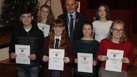Bryony Peter (front and far left) with her fellow pupils and head teacher Simon Knight.