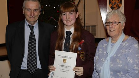 Eddie and Jenny Marshall with Stephanie Eaton who won the award in honour of their daughter, Gemma