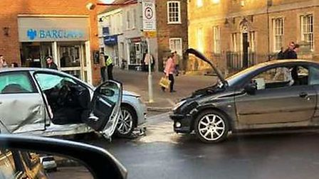 Two cars have collided in Whittlesey town centre. Picture: SUBMITTED