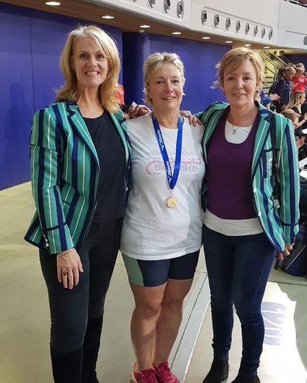 Isle of Ely Rowing Club's Nicki Glen with crewmates Jill McCulloch and Lyn Haynes at the British Ind