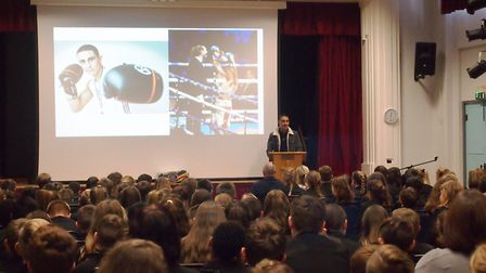 Champion Chatteris boxer Jordan Gill goes back to school to give inspiring talk to students. Picture