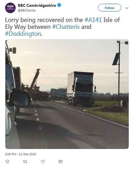 The A141 between Chatteris and Doddington was partially blocked due to an overturned lorry on Wednes