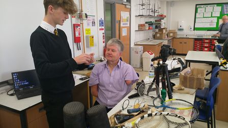 Ely College students take up the challenge to design for disability with amputee John Willis. Pictur