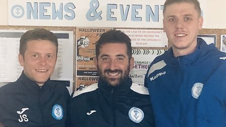 Chatteris Town boss Alex Kaufman, pictured with recent signings Jack Saunders (left) and Ben Matthew