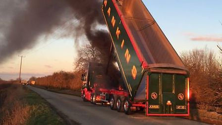 """Incident at Block Fen Mepal where Mr Chisholm suffered """"severe burn injuries"""". Picture: CAMBS FIRE A"""