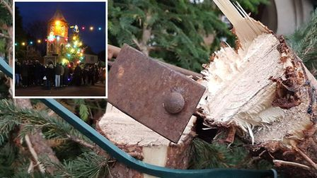 Doddingtons prize Christmas tree after it was targeted by vandals. Picture: ROGER NEWARK / FACEBOOK