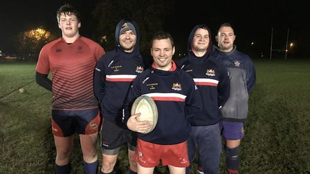 Wisbech Rugby Club's Henry Lankfer, Shane Vickers, Andy Claydon, James Napier and David Wadsley at t