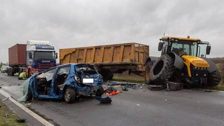 Three-vehicle crash on the A141 between March and Chatteris. A motorist has died and a tractor drive