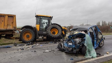 Three-vehicle crash on the A141 between March and Chatteris. Picture: TERRY HARRIS