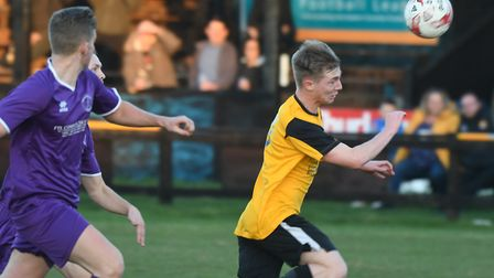 Rob Conyard struck twice in March Town's victory at Cornard. Picture: IAN CARTER.