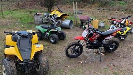 The quad bikes were discovered at an illegal encampment. Picture: CAMBS POLICE
