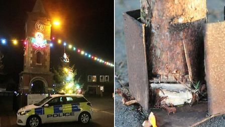 ?Storm damage? to blame for Doddington?s centre piece Christmas tree being cut in half. Pictures: CA
