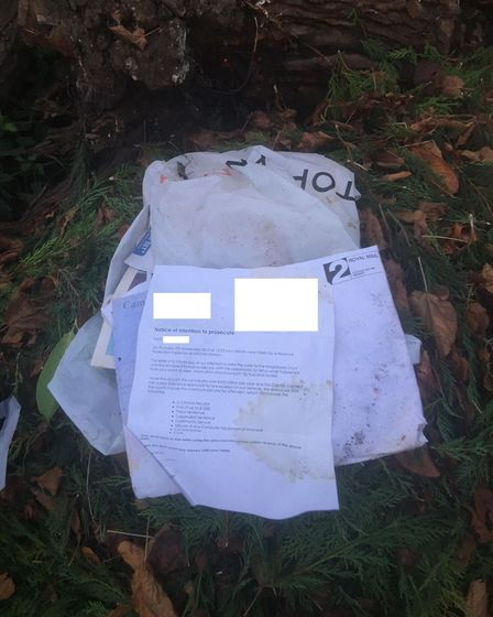 Evidence of fly tipping in Lambs Hill Drove, March. Foolishly whoever dumped the rubbish left paperw