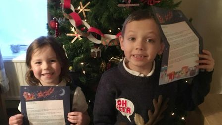 Letters from Santa help Arthur Rank Hospice. Joseph and Caoimhe with their letters from last year,