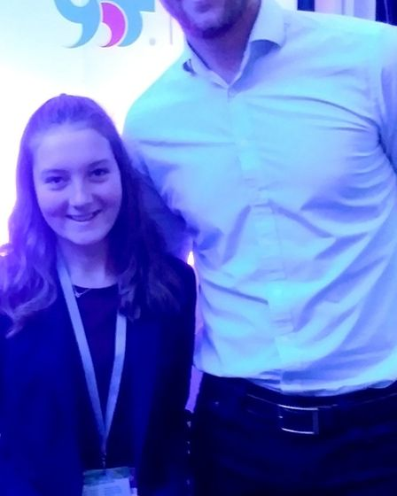 Witchford Village College student Jess Lonnen with Olympic gold medal winner Alex Gregory, who was t