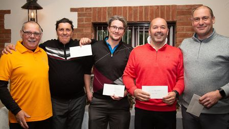 Vice captain Lee Smith presenting prizes at Tydd St Giles Golf Club to Peter Wheeler, Mathew Clarke,