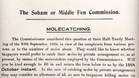 A historical document from The Soham or Middle Fen Commission about molecatching. It was written in