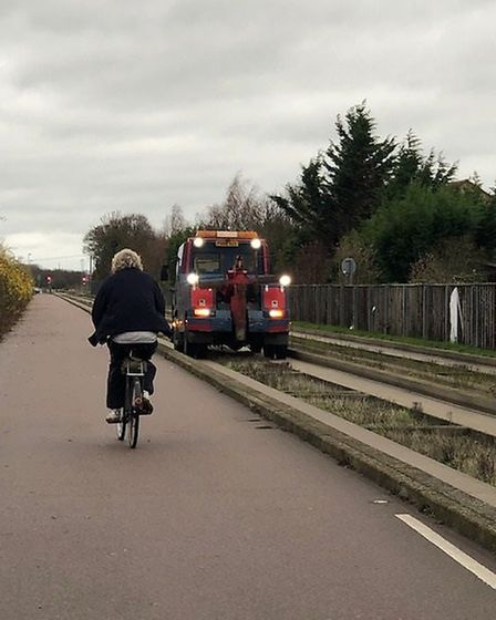 Mishap on the guided busway just before noon today. A couple out for a walk witnessed this car try a