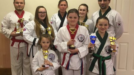 Students from Wisbech & Kings Lynn Tang Soo Do face the camera.