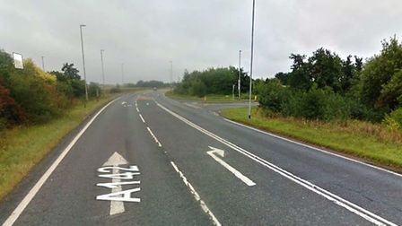 The A142 at Chatteris at the junction wiht New Road