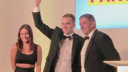 Stainless Metalcraft's Daniel Lynch receives the Apprentice of the Year award at the SME National Bu