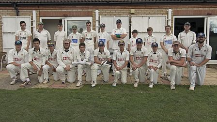 Wisbech (front) and Chatteris (back row) face the camera at the Ernie Wool Cup final