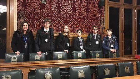 Students from Witchford Village College in London for the South East Cambridgeshire inter-school deb