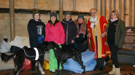 Two canons of Ely Cathedral who slept out in the bitter winter cold to raise money for homeless char