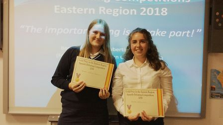 Katherine Mann, left, and Katherine Wood, right, who were victorious at the MFL eastern region debat