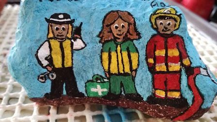 Hundreds of people have hand-painted rocks to form a '999 Line' to join the three emergency services