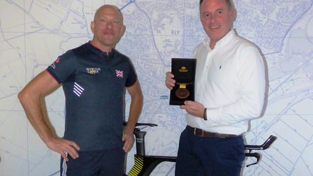 Ely estate agents, Keeleys, got a visit from Wayne Harrod, a local Invictus Games medallist. Picture