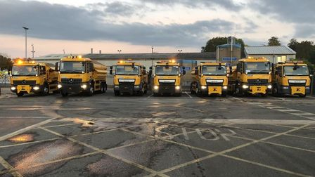 Look out for this entourage of gritters as they prepare for a busy few days in Cambridgeshire. .Pict